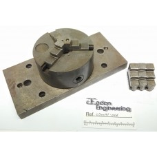 """3 Jaw Lathe Chuck Ø4"""" OD on a 8 1/2"""" x 4"""" Plate for milling and drilling."""